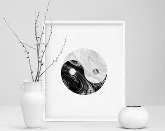 Yin Yang Print, Black and White, Room Decor, Yin Yang Wall Art, Yin Yang Poster, Marble, Minimalist Print, Home Decor