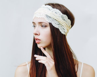 Boho Headband / Yellow Headband / Adult Headbands for Women / Lace Headband / Womens Headbands / Wide Headband // Pale Yellow Orange