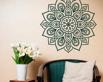 Removable Wall Decal Mandala - Vinyl Mandala Wall Decal- Mandala Wall Art Yoga Studio Bohemian Bedroom Morrocan Decor- Mandala Sticker #2