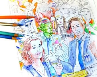X Files Art Print Adult Coloring Sheet Xfiles The Mulder