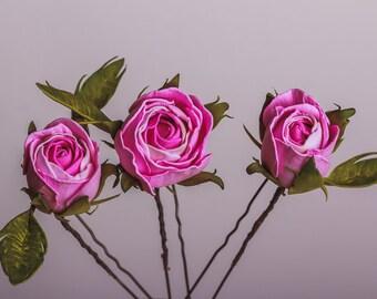Set of 3 Pink Roses Hairpins Rustic Wedding Hair Accessories Bridal Hairpin Boho Wedding Flower Hairpins Bridal pink roses bobby Pins