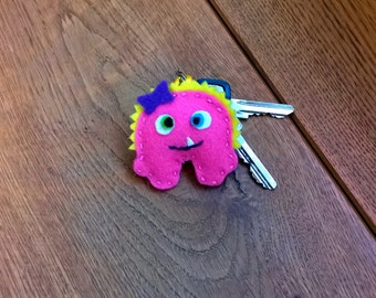 Felt Keyring Monster Girl Pink