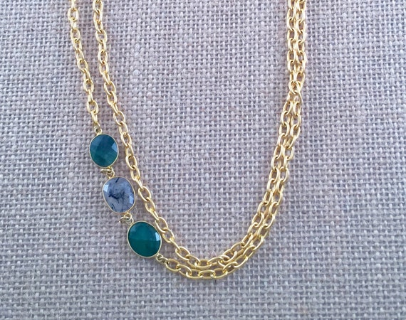 """Emerald and Rutile Link Chain Necklace - 22K gold plated - 42"""" long - Double Wrap - Long - Layer - SINTRA 1"""
