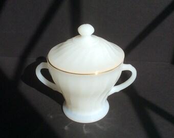 Anchor Hocking Milk Glass Sugar Bowl; Fire King Sugar Bowl