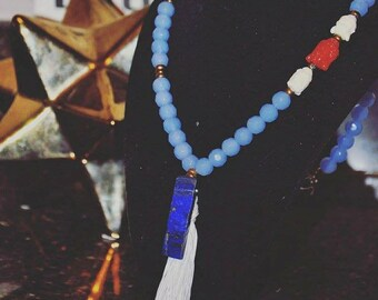Handmade Asymmetrical MalaBead Necklace with Gemstone Accent