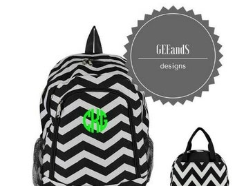 Monogram Black Chevron backpack and lunch bag- personalized bookbag