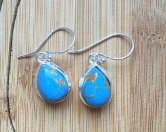 Blue Copper Torquoise Gemstone Solid 925 Sterling Silver Earrings