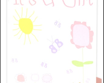 It's a Girl Greeting Card - Garden #LG-002
