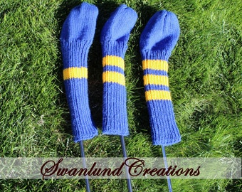 3 Pack Striped Golf Club Head Cover  - Choose Your Colours - Hand Knit - Custom Made to Order