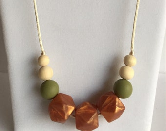 The Addie- Bronze, Avocado Teething Necklace/Nursing Necklace
