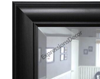 Custom Brazilian Black Walnut Wood Modern Wall Mirror - Beveled Glass - FREE SHIPPING