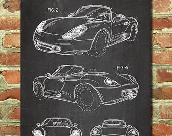 Porsche Boxster Print Classic Car Art Prints, Sports Car Wall Decor, Race Car Theme, Men Gift for Him, Teen Room Art, Porsche Art P152