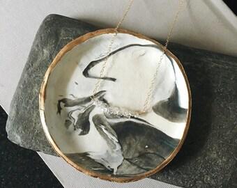 White Marble Jewelry Dish