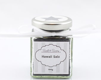 Hawaiian black salt, 100 g, gourmet salt, ideal as a gift for grilling, cooking, Easter, Christmas for him and her