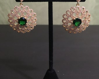 Green Peony Earrings
