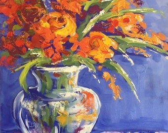 Original Affordable Art by Missy M - Textured Oil Painting on Canvas - Flowers in Vase  Modern Art - Large Floral Art 50cm x 60cm