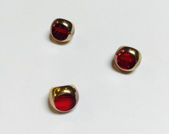 Vintage German Gold Edged Glass Beads in  Garnet - 3 Pieces - #528
