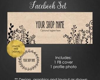 Facebook timeline cover, facebook banner, facebook set, kraft banner, handmade banner, facebook cover, whimsical