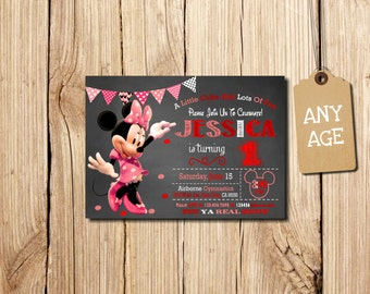 MINNIE MOUSE INVITATION, Red 1st Birthday Invitation, Minnie Mouse Birthday Invitation, Minnie Mouse Birthday, Minnie Mouse, Red, pink