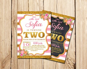 2nd birthday invitation pink and gold, second birthday invitation, Pink and Gold 2nd Birthday Invitation Girl, Second Birthday, chalkboard