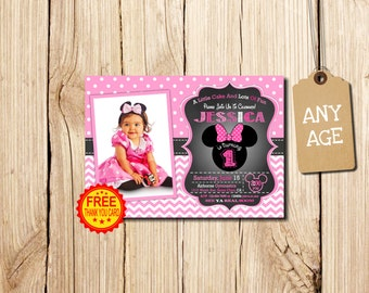 MINNIE MOUSE INVITATION, with photo, 1st Birthday Invitation, Minnie Mouse Birthday Invitation, Minnie Mouse Birthday, Minnie Mouse