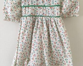 Vintage Handmade Flower Romper Outfit w/ Peter Pan Collar Baby Girls 12 Months