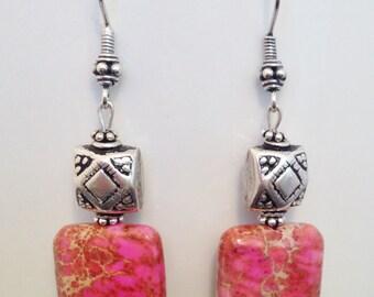 Pink Earrings,  Sterling Silver Earrings, Pink Sea Sediment Jasper and Bali Sterling Silver  Earrings