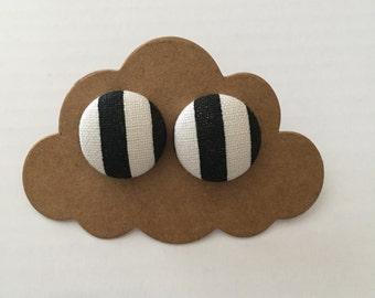 Black & white fabric covered earrings
