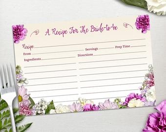 "Printable Rustic Spring Floral Recipe Card, Bridal Wedding Shower, 6""x4"", JPG Instant Download"