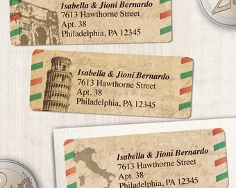 "Printable Vintage Italian Airmail Address Labels - Parchment, Personalized 2 5/8"" x 1"" Address Labels, Editable PDF, Instant Download"