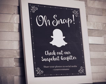 "Printable Chalkboard Geofilter Social Media Event Wedding Sign - Black, 2 Sizes: 8""x10"" and 5""x7"", Editable PDFs, Instant Download"