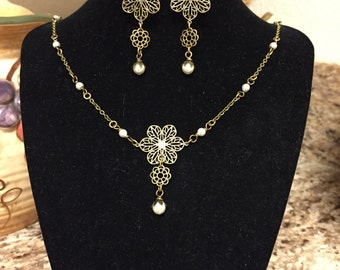 Brass Filigree Necklace & Earrings