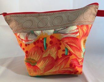 Project Bag for Knitting, Zippered Wedge Bag, Sock to Shawl, Cosmetic Bag, Make-Up, Storage, Yarn Tote, Orange Leopard Lotus Kaffe Fasset