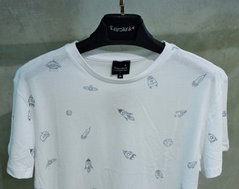 All Over Rocket, Satellite and Planet Print Men's T-shirt