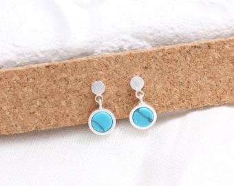 Circle Turquoise Dangle Stud Earrings, Small Round Turquoise Stud Earrings