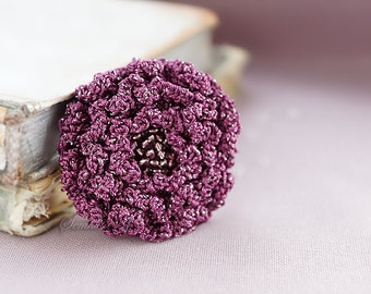 Grape crochet flower brooch 1,  accessory