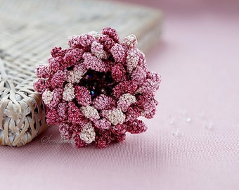 Shell pink crochet flower brooch,  accessory