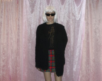 fuzzy black sweater M/L