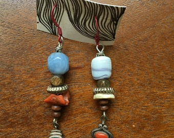 Earrings made from recycled and mix-matched beads