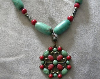 Stunning Turquoise and Coral Necklace