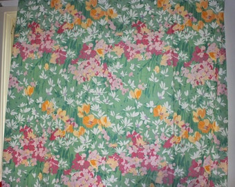 Lovely vintage retro pair of Curtain lengths & holders with floral pattern in pink / green / yellow and white.  Made in Sweden, Scandinavian