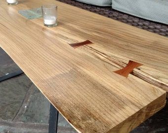Live Edge Coffee table. Reclaimed Maplewood Coffee Table with steel legs. Available in End Table Height. Home - Livingroom.