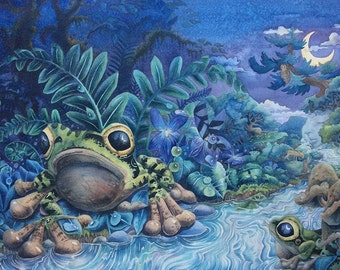 "Dreaming by Frongsong 18"" x 26"" Original Watercolor Giclee Print on canvas, nightscape frogs water nature forest moonlight blue surrealism"
