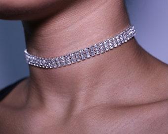 Small Rhinestone Choker Necklace