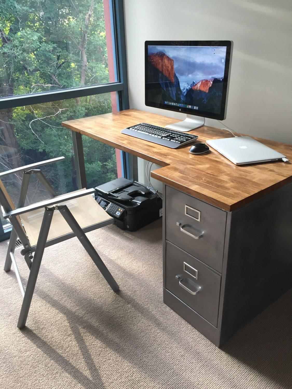 desk with refinished 2 drawer metal filing cabinet w solid. Black Bedroom Furniture Sets. Home Design Ideas