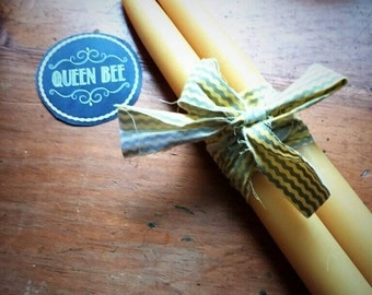 "10"" Tapers Beeswax Candles - Hand Poured - Pair of Tapers of all Natural Beeswax candles - Beeswax Candle Sticks"
