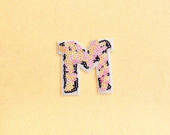 sequin patch letter m patch iron on patch sew on patch embroidered patch size 7cm x 7cm