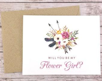 Will You Be My Flower Girl Card, Flower Girl Proposal Card, Floral Wedding Card, Flower Girl Gift, Rustic Wedding Card - (FPS0022)