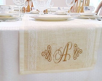 Country Rustic Table Runner- Burlap Table Runner- Wedding Table Runner- Rustic Wedding Decor- Burlap Runner- Burlap Lace Runner-Gift for Her