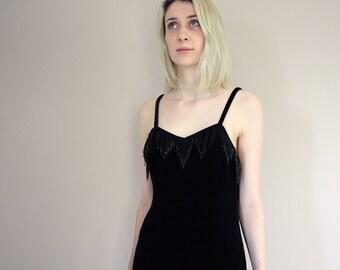 Vintage 80s Dorothy Perkins Black Velvet Sequin Bead Fringe Midi Dress - Small/Medium